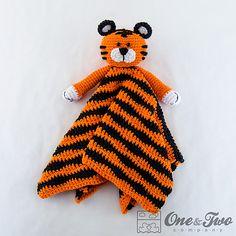 Ravelry: Tiger Lovey Security Blanket pattern by Carolina Guzman.