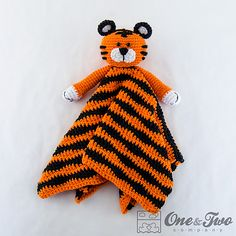 Ravelry: Tiger Lovey Security Blanket pattern by Carolina Guzman.