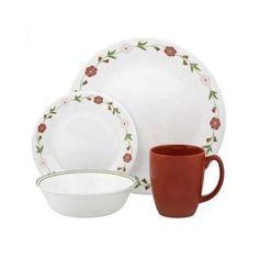 Corelle 16 Pc Dinnerware Set 4 Service Spring Pink Plates Bowls Mugs Kitchen  #Corelle