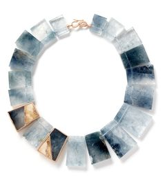 """""""A clever mix of blue tourmaline with fossilized woolly mammoth tooth root, white-diamond sprinkle, and 18K recycled rose gold""""    Monique Peon Blue Tourmaline Geometric Ancash Necklace - ShopBAZAAR"""
