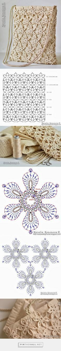 """- """"Outstanding Crochet: Limited time free pattern/tutorial for Crochet Summer Tote Bag. Very detailed instructions."""" the charts again! Crochet Diy, Crochet Motifs, Crochet Diagram, Crochet Chart, Irish Crochet, Crochet Stitches, Crochet Summer, Tutorial Crochet, Crochet Yoke"""