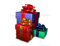 Gifts — Photoshop PSD #golden #illustration • Available here → https://graphicriver.net/item/gifts-/9062757?ref=pxcr