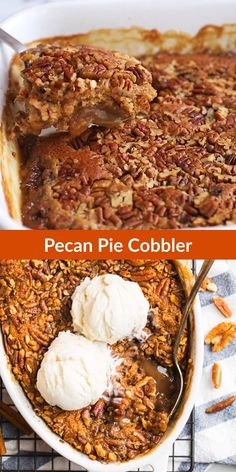 Gooey caramel filling forms under a sweet, buttery cobbler topping with crunchy, toasted pecans. The easy version of pecan pie, made without corn syrup! Pecan Desserts, Pecan Recipes, Delicious Desserts, Dessert Recipes, Recipes With Pecans, Quick Dessert, Apple Recipes, Pecan Pie Cobbler, Cobbler Topping