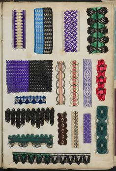 French samples of silk, velvet and lace trimmings, fringes and ribbons, 1842 to 1851