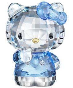RETIRING SOON! Swarovski Collectible Figurine, Hello Kitty Blue Bow