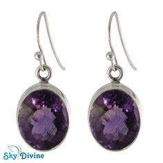 Sterling Silver amethyst Earring SDAER08 | Sky Divine Jewellery, $75.89