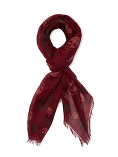 "Bicolor Skull Silk Blend Scarf 47"" x 40"" by Alexander McQueen at Gilt"