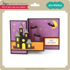 Pop up box card boxcard with a haunted house and bats