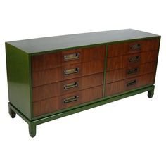 Green Lacquer Dresser with Figured Walnut Drawerfronts-Heritage  USA USA1950's - Fantastic Dresser with green lacquer cabinet and Walnut Drawerfronts by Heritage. The dresser features sculpted legs and brass hardware, clearly influence by the earlier work of Dorothy Draper.