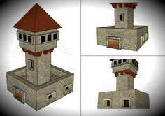 Medieval Watchtower Paper Model - by Edifícios De Papel - == -  This very well done Medieval Watchtower paper model was created by Spanish designers Mónica and Anibal, from Edifícios De Papel website. This model is available in six different scales: 1/56 scale(28mm), 1/72 scale, HO scale (1/87), 1/100 scale (15mm), N scale (1/160) and Z scale (1/220). This tower is perfect for dioramas, RPG and Wargames.