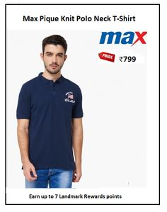 #Max #Pique #Knit #Polo #Neck #T-Shirt #Design : Embroidered #Price: ₹799.00 #Fit : Regular #Style : Casual #Fabric : Cotton Blend Polo Tees, Style Casual, Neck T Shirt, Knitting, Mens Tops, Cotton, Shirts, Design, Fashion