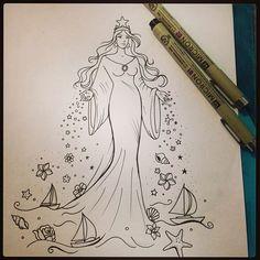 Doodle Drawings, Tattoo Drawings, Drawing Sketches, Mermaid Sleeve Tattoos, Mystical Tattoos, Mermaid Artwork, Viking Symbols, Life Tattoos, Tatoos