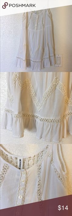 White crochet shirt/dress **Brand new never worn no tags. Dress length for short people and shirt length for taller but very nicely done crochet details Bethany Mota Dresses