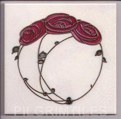Arts & Crafts / Art Nouveau Mackintosh Rose Tiles / Plaque / Fireplace / Kitchen