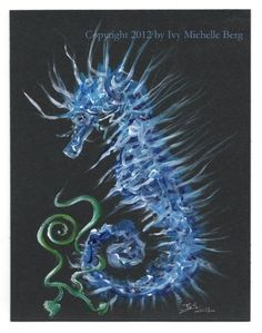 Seahorse and Ivy Original Acrylic Fantasy Painting by ArtbyIvy, $105.00