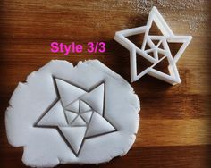 biscuit cutter Origami Star cookie cutter 8 sided   fractal art stars one of a kind ooak