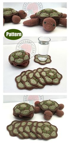 The Turtle Coaster Sets Crochet Pattern is easy to work up. The fun part is that the turtle can hide inside its shell while you use the coasters. Crochet Simple, Crochet Diy, Crochet Motifs, Crochet Crafts, Crochet Projects, Doilies Crochet, Crochet Things, Thread Crochet, Crochet Ideas