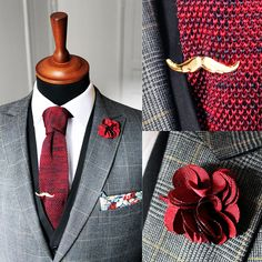 Our shifting red knitted tie with the gold mustache tie clip. Killer!