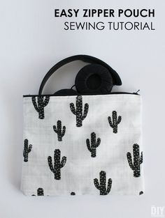 Learn how to sew a zipper pouch! These zipper pouches are big enough to store headphones! Great tutorial for beginners!