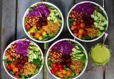 Whole Food Recipes, Vegan Recipes, Salad Toppings, Green Goddess Dressing, Grain Salad, Main Dish Salads, Vegan Kitchen, Plant Based Protein, How To Cook Quinoa