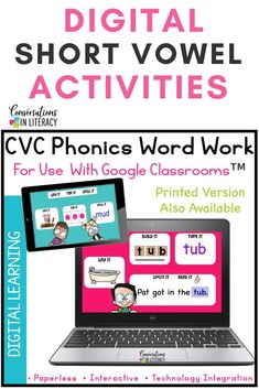 Digital CVC Short Vowel Activities for Distance Learning in the elementary classroom-These CVC worksheet alternatives use short vowel sounds as students learn to segment and blend short vowel sounds. #phonics #decoding #digitalactivities #distancelearning #shortvowels #conversationsinliteracy #firstgrade #secondgrade #kindergarten 1st grade, 2nd grade