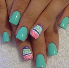Tribal print nails. Love this shade of green