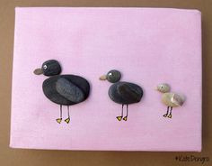 MTO 3 Little Ducks Family Nursery Animal Stone Pebble Art Painting Picture Made with Beach Finds