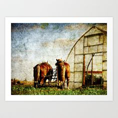 Two Horses Ready For Work Art Print by Angelandspot - $14.00
