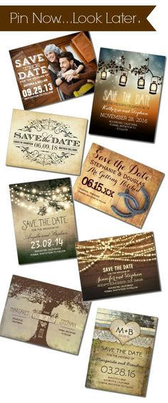 Rustic Save The Date Postcards & Rustic Wedding Invitations