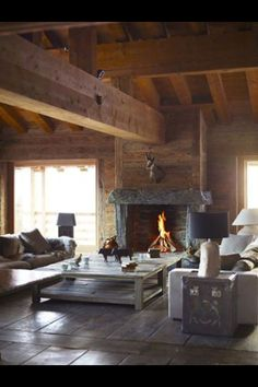 Interior, Modern, Rustic, Fireplace, Timber, Wood, Stone