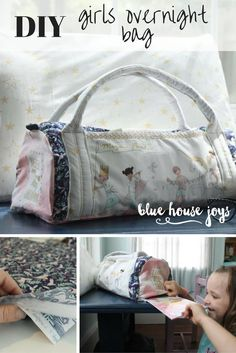 DIY Overnight bag featuring Sarah Jane Studio's Magic Fabric. Perfect for your little girl for sleepovers and trips or fun, imaginary play! Visit our shop at bluehousejoys.com/shop/ for more inspiration!