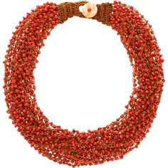 Add a pop of style to evening ensembles and vacation outfits alike with this eye-catching necklace, featuring bold red beads and a button clasp....