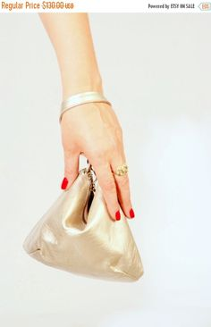 Gold Leather Clutch Gold Leather Leather Purse Purse by AdaBags