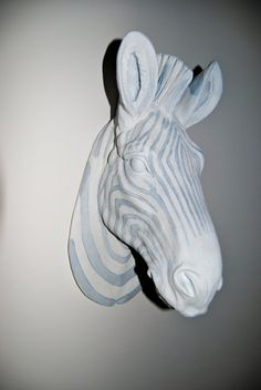 Zebra Head Wall Mount  White and Gray  Faux by NearAndDeer on Etsy, $89.99