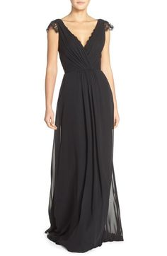 Hayley Paige Occasions Lace & Chiffon Cap Sleeve Gown available at #Nordstrom