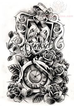 grey-ink-clock-and-flower-tattoo-design.jpg (325×466)