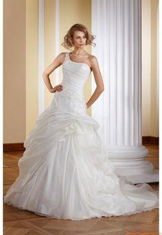 Einschulter Schönste Brautkleider für Prinzessin aus Softnetz mit Applikation