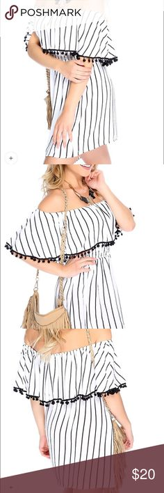 Ami Clubwear Off the Shoulder Dress New w/o tags! Cute off the shoulder dress for summer. Has an elastic waist and can be worn as a top. Works for size small through large as it has a versatile fit. Ami Clubwear Dresses Mini