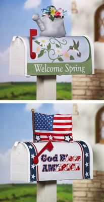 Seasonal Standard Mailbox Covers Patio Ideas, Outdoor Ideas, Outdoor Decor, Garden Ideas, Mailbox Covers, You've Got Mail, Collections Etc, Welcome Spring, God Bless America
