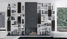 Italian Furniture, Modern Furniture, Contemporary Furniture in Chicago Contemporary Bookcase, Contemporary Furniture, System Furniture, Furniture Design, Wall Unit Designs, Moderne Pools, Modern Wall Units, Muebles Living, Open Bookcase