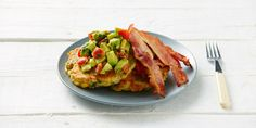These delicious corn fritters are one of the most popular breakfast recipes on the 8-Week Program. They are tasy when eaten alone, though even more delicious with the addition of bacon + avocado salsa! – I Quit Sugar