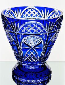 Ajka Cobalt Sapphire Blue Cut to Clear Crystal Wine Champagne Bucket Bowl   eBay