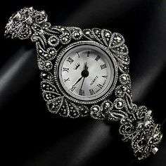 Sterling Silver 925 Ornate Antique Design Swiss Marcasite Watch 7 Inches