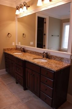 Master Bathroom Dark Cabinets kid's bathroom: dark cabinets, white countertops, gray walls | new