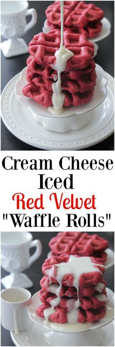 "Cream Cheese Iced Red Velvet ""Waffle Rolls."" Fun and festive any time of the year!"