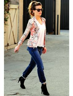 White blouse with printed pink , black mix stylish jacket and dark blue casual jeans and black high heels leather boots