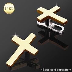 14Kt Yellow Gold Cross Dermal Top-WildKlass Jewelry