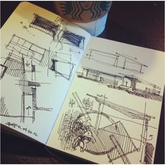 Texas modern village initial design #coffeesketch this morning @Starbucks | 04.20.12