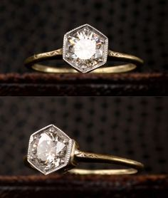 1920s Hexagonal Art Deco Engagement Ring with 0.72ct...