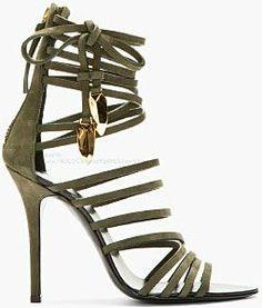 Giuseppe Zanotti Olive Nubuck Gladiator Heels in Green (olive) Stilettos, Stiletto Heels, Pumps, Dream Shoes, Crazy Shoes, Me Too Shoes, Gladiator Heels, Strappy Sandals, Shoes Sandals